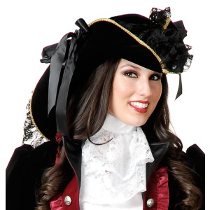 Velvet Pirate Hat - Black / One Size