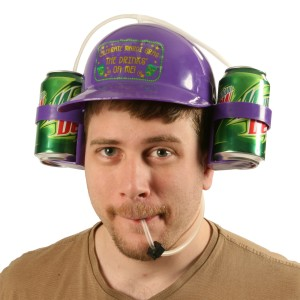 Mardi Gras Drinking Helmet Adult - Purple