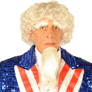 Uncle Sam Wig/ Goatee/ Eyebrows - Red / One Size