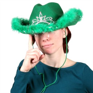 Green Light Up Cowgirl Hat with Marabou Trim - Green / One-Size