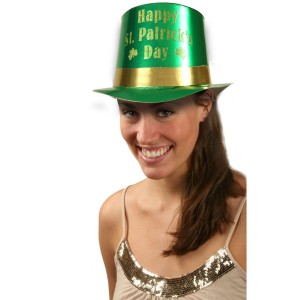 St. Patrick's Green Foil Top Hat with Gold Glitter - Green