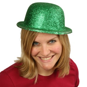 Green Glitter Derby Hat - Green / One-Size