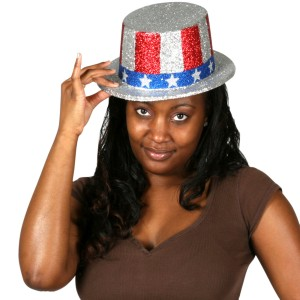 Glittered Patriotic Top Hat - Red/White/Blue / One-Size