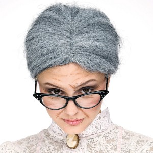 Granny Gray Bun Wig Adult