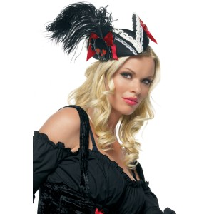 Mini BlackRed Pirate Adult Hat - Red / One Size