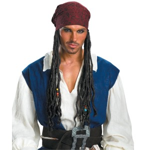 Pirates of the Caribbean - Captain Jack Sparrow Headband With Hair - Black / One Size