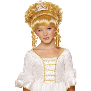 Blonde Child Wig with Tiara - Yellow