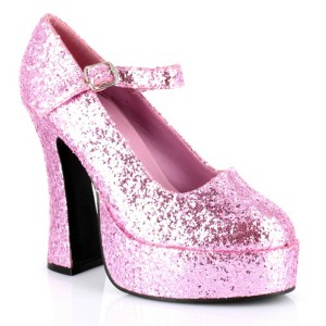Mary Jane Platform Pink Glitter Adult Shoes - Pink / 8