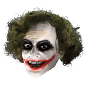 Batman Dark Knight Adult Joker 3/4 Vinyl Mask with Hair - White / One-Size