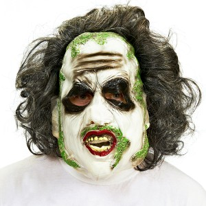 Beetlejuice 3/4 Vinyl Mask with Hair - White / One Size