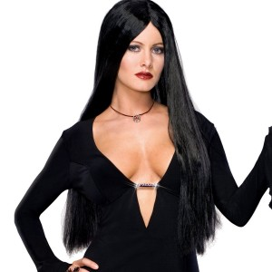 Addams Family Deluxe Morticia Wig - Black / One Size