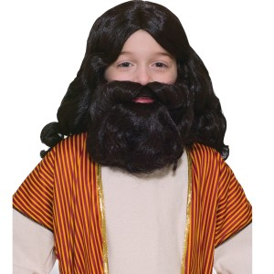 Biblical Wig and Beard Set Child - Brown / One Size