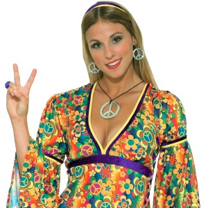 Hippie Peace Sign Necklace and Earrings - Silver / One-Size