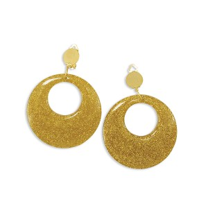 Gold Glitter Earrings - Silver / One-Size