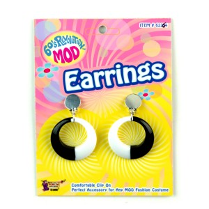 Mod Black and White Hoop Earrings - Black/White / One-Size