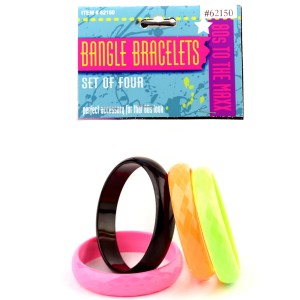 80's Bangle Bracelet Set 4 piece - Black / One-Size