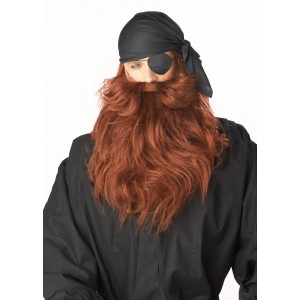 Pirate Beard and Moustache - Red - Red / One-Size