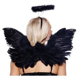 Black Deluxe Feather Angel Accessory Kit Adult - Black / One-Size