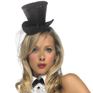 Mini Top Hat With Veil - Black / One-Size