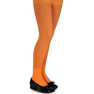 Orange Glitter Tights - Child - Orange / Large