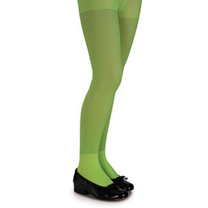 Lime Green Glitter Tights - Child - Green / Large