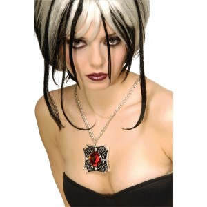 Gothic Medallion Necklace - Silver / One-Size
