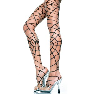 Spider Web Pantyhose - Adult Black - Black / One-Size