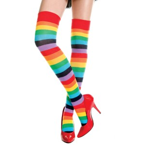 Rainbow Striped Thigh High Stockings - Adult - Red / One-Size
