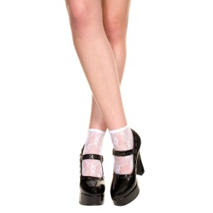 Lace Ankle Socks - Adult - White
