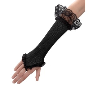 Black Mesh Fingerless Gloves - Black / One Size