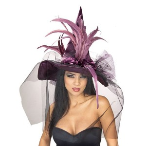 Purple Feather Adult Witch Hat - Purple / One-Size
