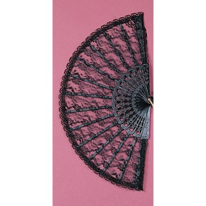 Lace Fan 9in Black - Black