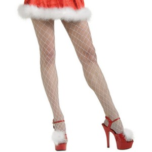 White Fence Net Stockings Adult - White