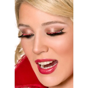 Eyelashes with Red Crystals - Red / One-Size