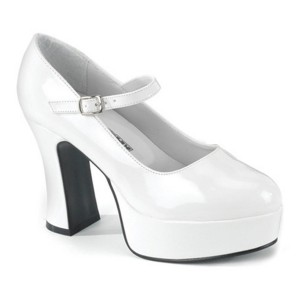 Mary Jane White Adult Shoes - Wide Width - White / 7W