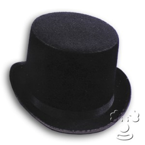 Black Felt Top Hat - Black / Large