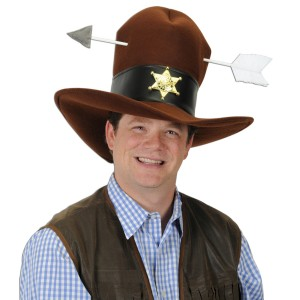 Western Plush Hat with Arrow - Brown / One-Size