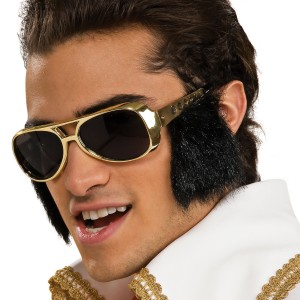 Elvis Glasses with Sideburns - Black / One-Size
