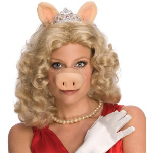 The Muppets Miss Piggy Wig with Ears & Tiara Adult Costume - Pink / Standard