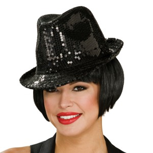 Sequin Fedora Hat Adult - Black / One Size