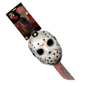 Friday the 13th 2009 Jason Mask & Machette Set - White / One-Size