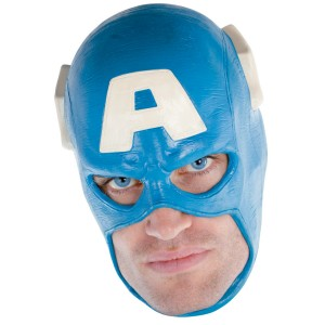 Captain America Vinyl Deluxe Adult Mask - Blue / One-Size