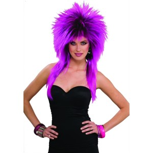 80's Purple Pizazz Adult Wig - Purple / One Size