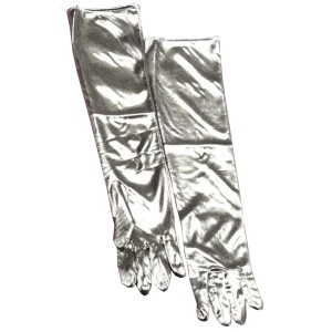 Silver Lamé Adult Gloves - Silver / One Size