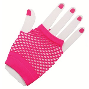 80's Neon Pink Short Fishnet Adult Gloves - Pink / One Size