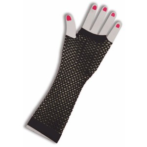 80's Black Long Fishnet Adult Gloves - Black / One Size