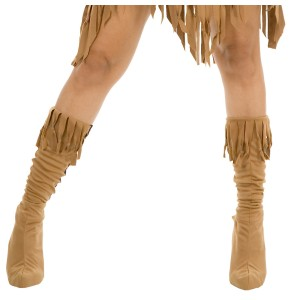 Indian Maiden Suede Adult Boot Covers - Tan / Medium/Large (7-10)