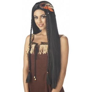 Sexy Indian Princess Adult Wig - Black / One-Size