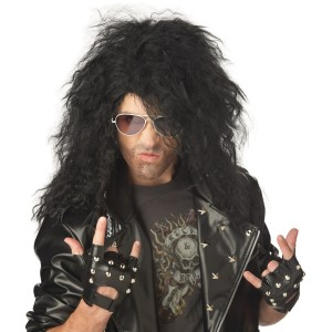 Heavy Metal Rocker Black Adult Wig - Black / One-Size