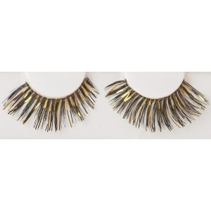 Black/Gold Eyelashes - Black / One-Size